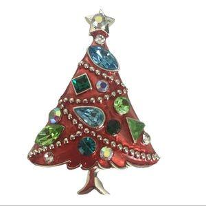 Whimsical Red Green Crystal Rhinestone Silver Christmas Tree Pin Brooch